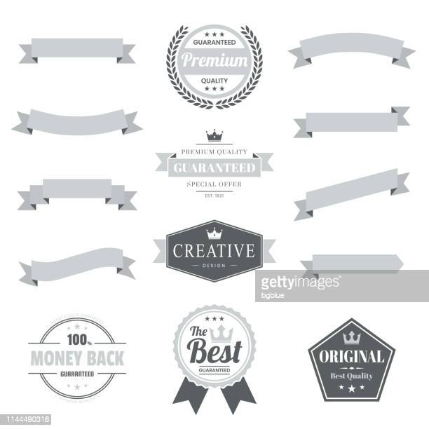 set of gray ribbons, banners, badges, labels - design elements on white background - web banner stock illustrations