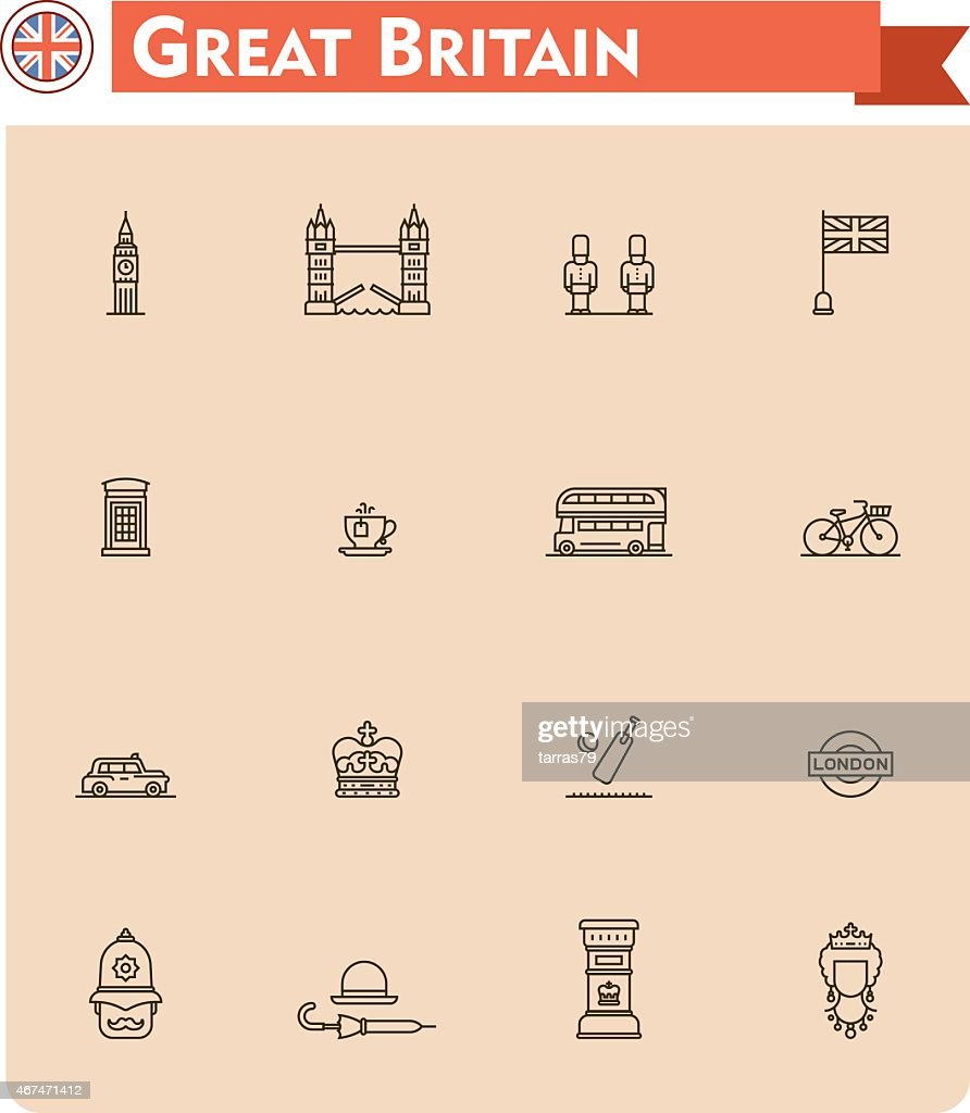 Set of Great Britain travel icons