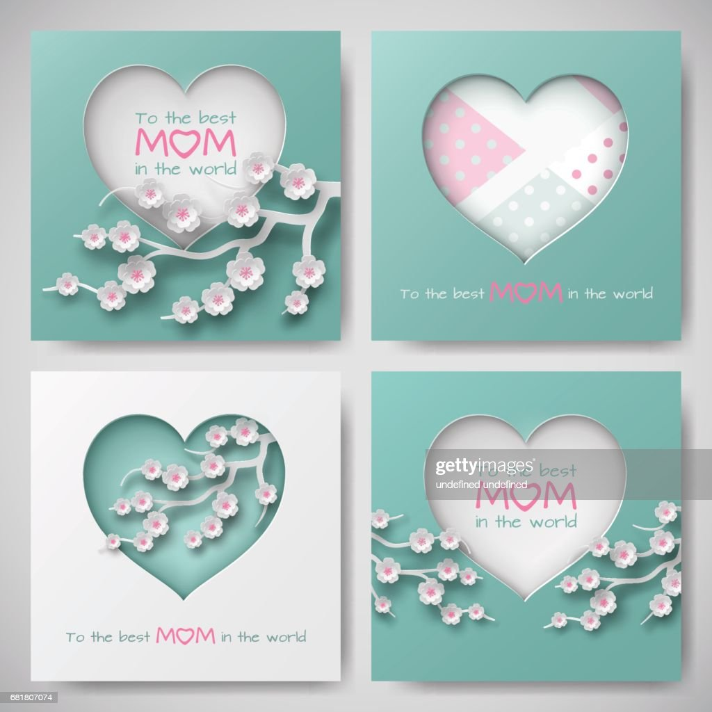 Set Of Green And Pink Greeting Cards For Mothers Day With