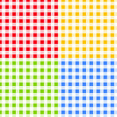 Set of Green, Blue, Red and Yellow Checkered Seamless Patterns