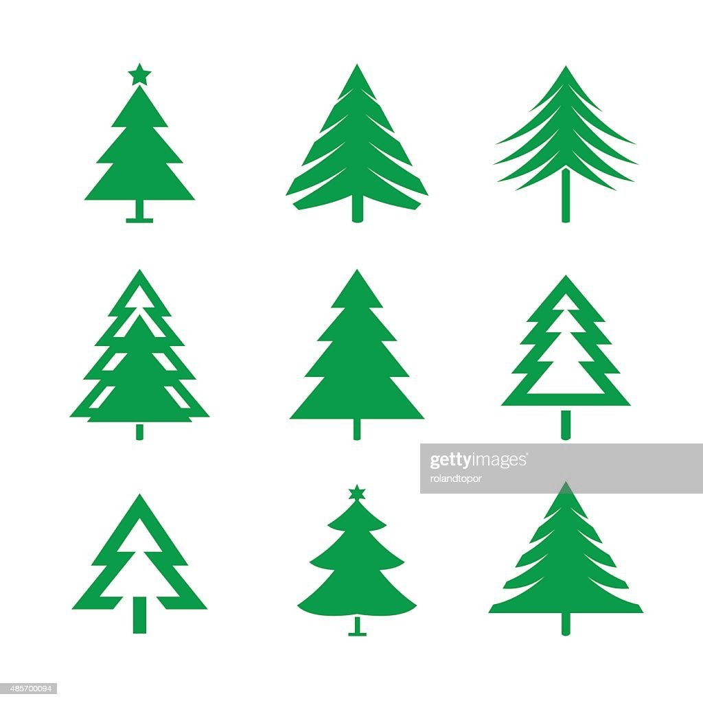 Set of Green Christmas Trees. Vector Illustrations.