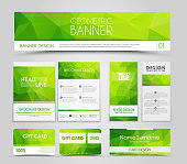 Set of green corporate style polygonal