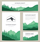 Set of green mountains and forest backgrounds