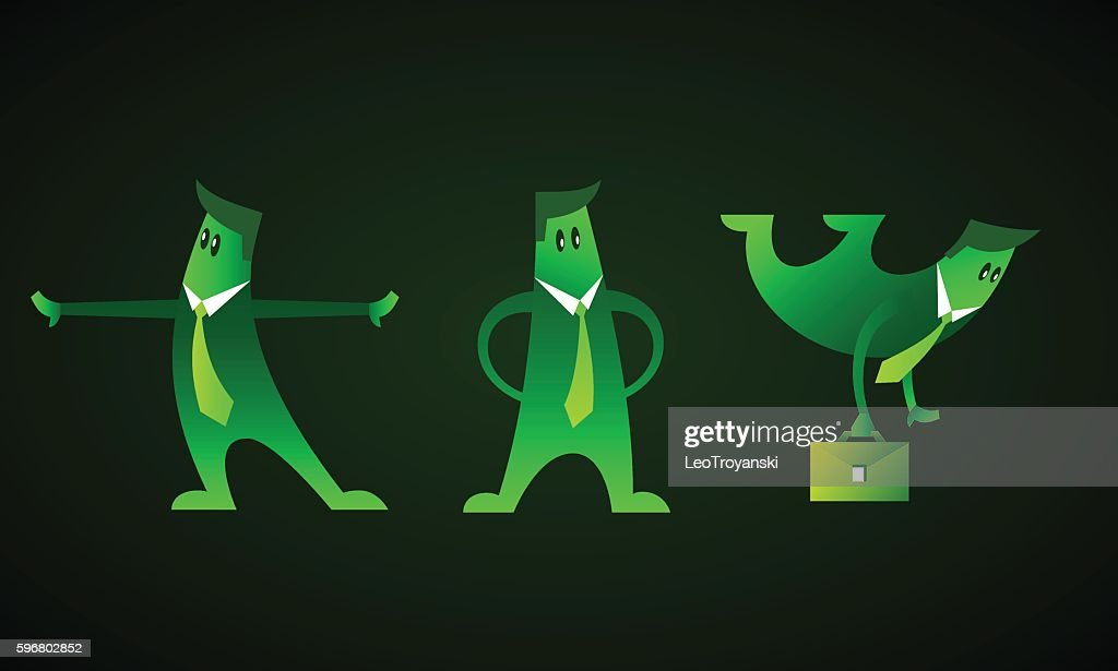 Set of green neon business characters.