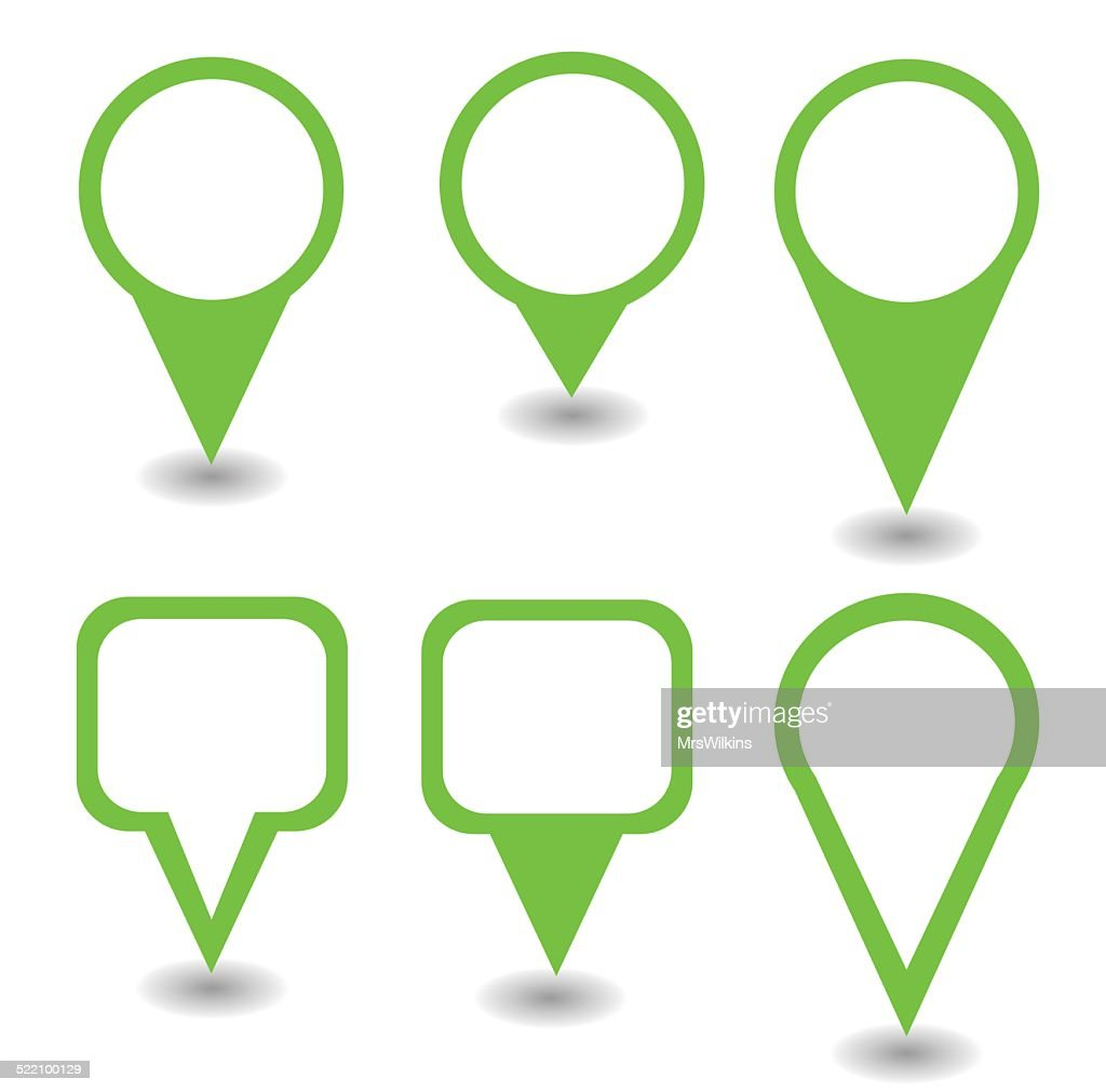 Set of green pointers and markers different shapes vector