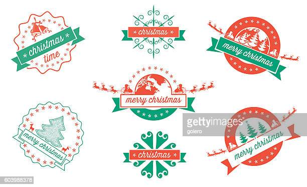 set of green red christmas vector badges on white