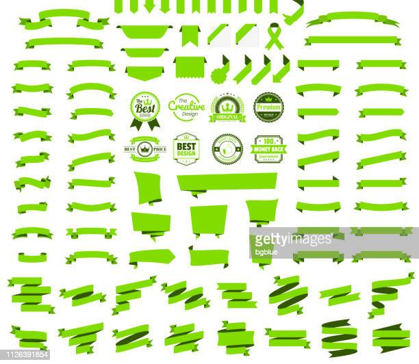 set of green ribbons, banners, badges, labels - design elements on white background - folded stock illustrations
