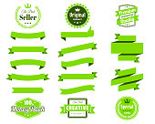 set green ribbons banners badges labels