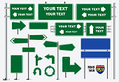 Set of green road signs isolated, for brochure, flyer, cover book and other printing design.