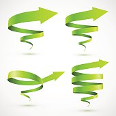 Set of green spiral arrows