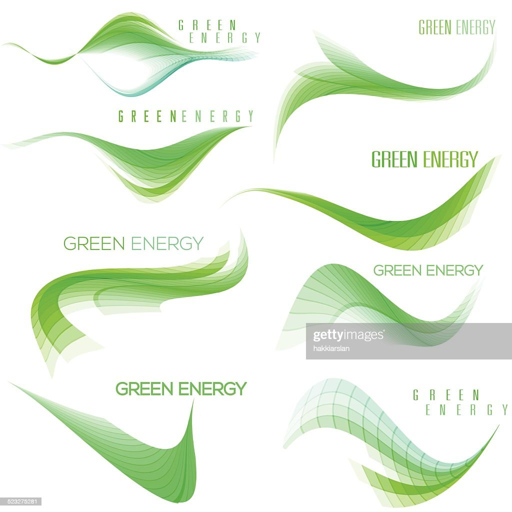 Set of green wavy design elements