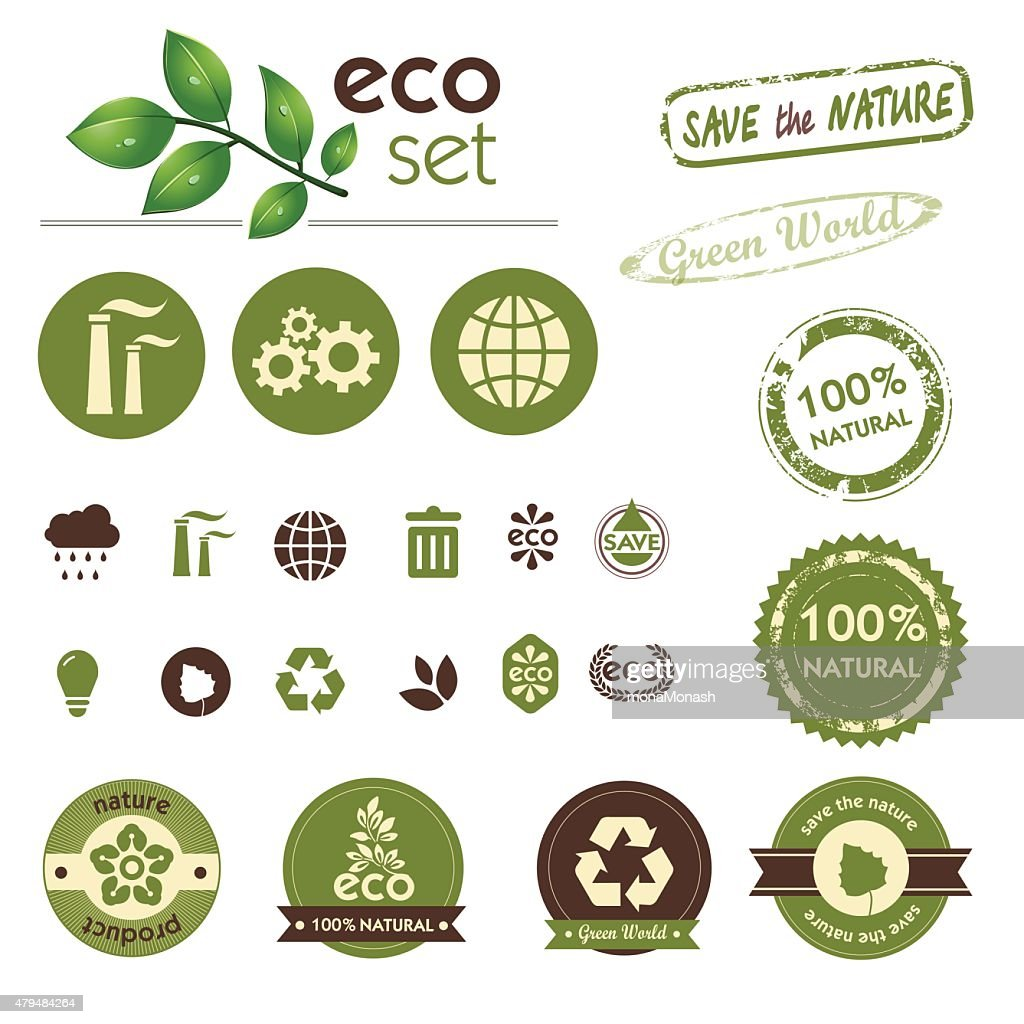 Set of Green world. Ecology theme.