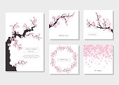 Set of greeting cards and invitation card with cherry blossom.