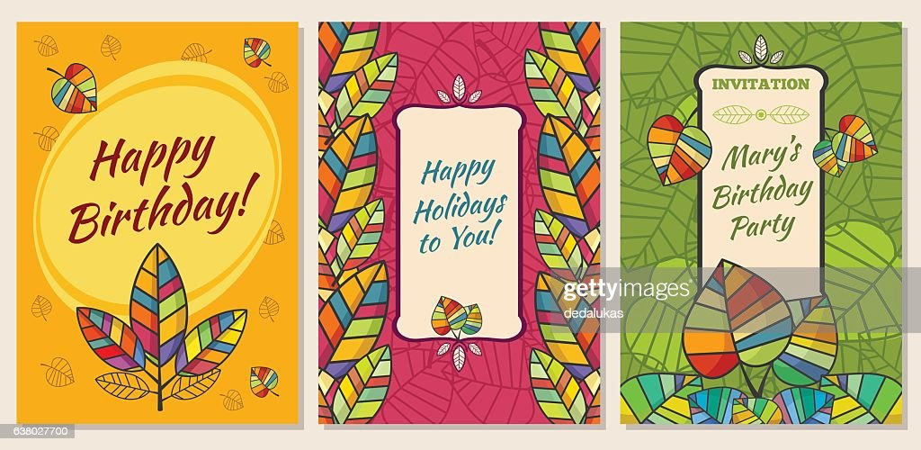 Set of greeting cards, invitations to holiday