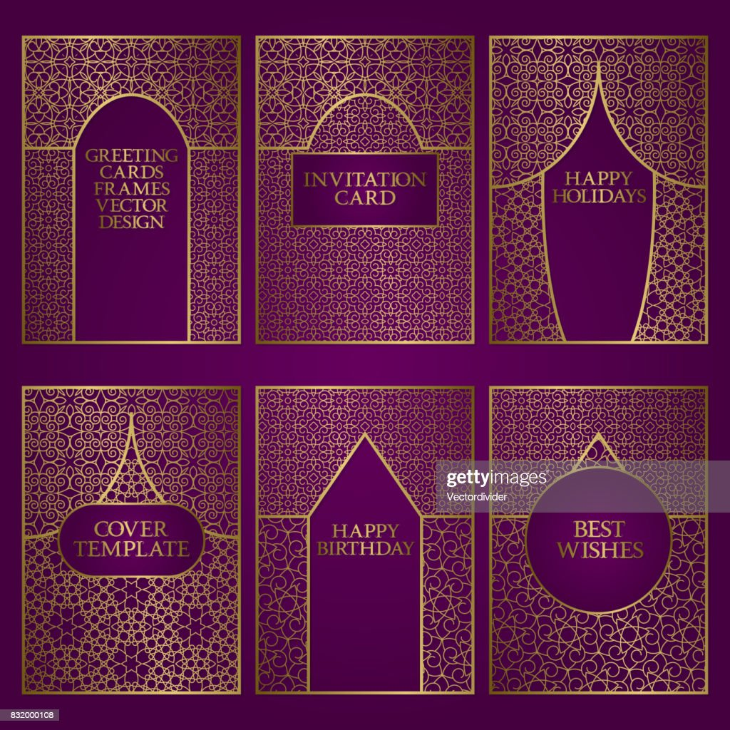 Set of greeting cards templates golden frames design for invitations set of greeting cards templates golden frames design for invitations birthday and holidays greetings m4hsunfo