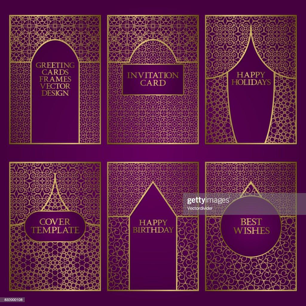 Set Of Greeting Cards Templates Golden Frames Design For Invitations