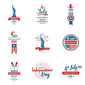 Set of greeting illustration for United States Independence day. Can be used as greeting card, banner, background. 4th of July. Vector typography.