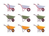 Set of grey, green, yellow wheelbarrows