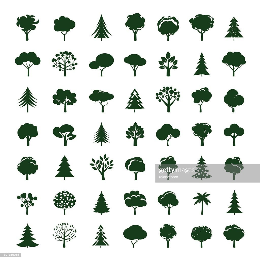 Set of Grey Trees. Vector symbol and icon.