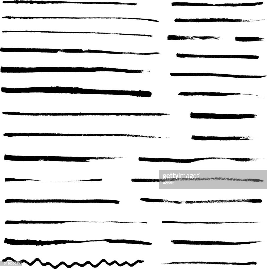 Set of grunge artistic brushes isolated on white