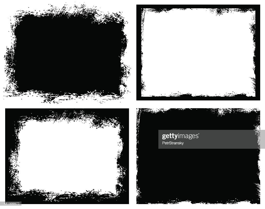 Set of grunge background. Broken dirty rough frames