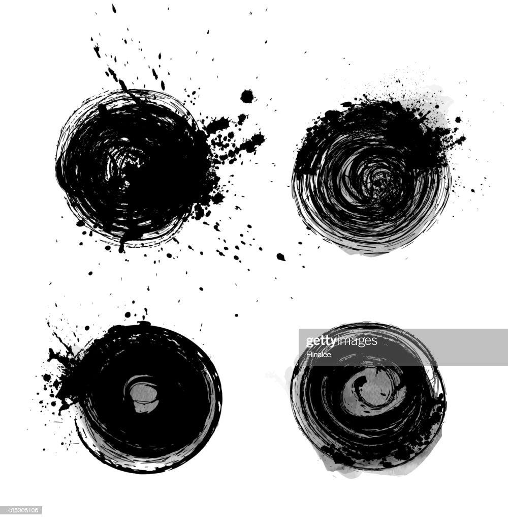 Set of grunge black circles