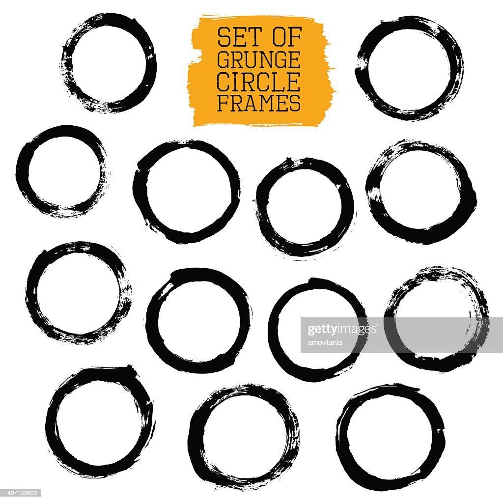 Set of Grunge Circle Frames