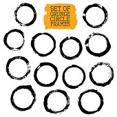 Set of Grunge Circle Frames