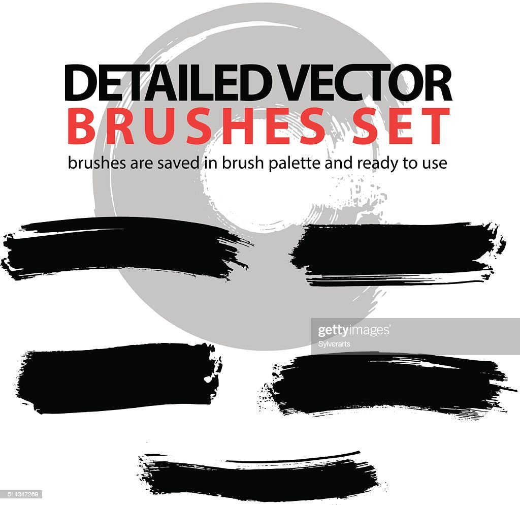 Set of grunge detailed hand-painted brushstrokes, black
