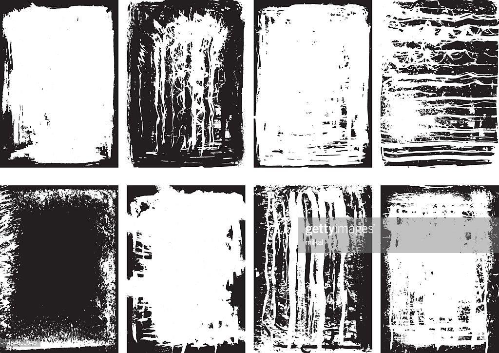 Set of grunge frames and background