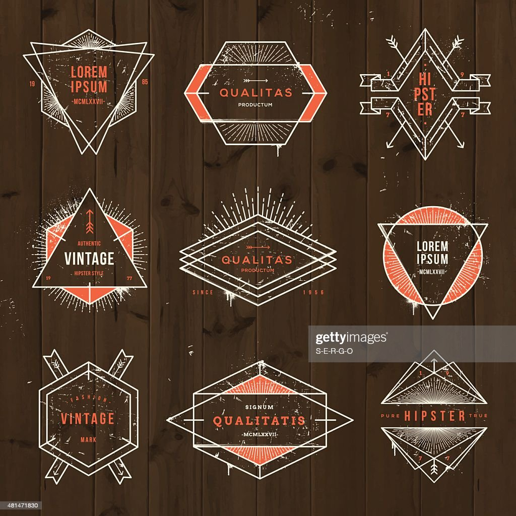 Set of grunge hipster signs and emblems