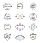 Set of grunge hipster signs and emblems with sunburst rays