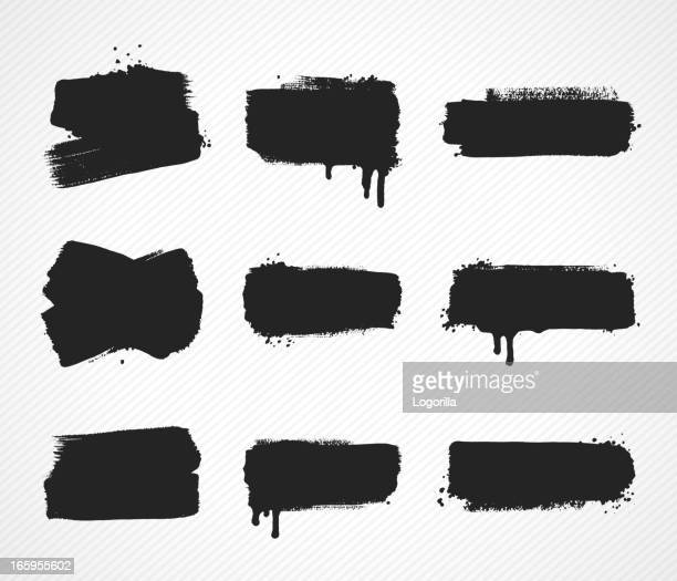 Set of grunge paint stroke images