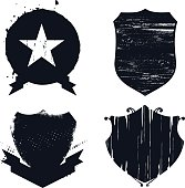 set of grunge shields