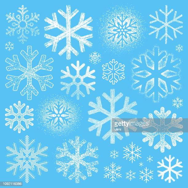 set of grunge snowflakes - stencil stock illustrations