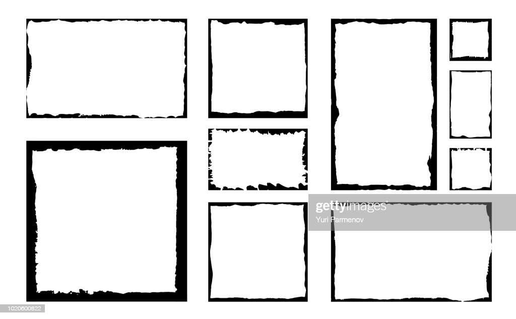 Set of grunge square frames. Empty border background. Hand draws black and white ink. Distress damaged edge vintage template. Brush stroke vector.