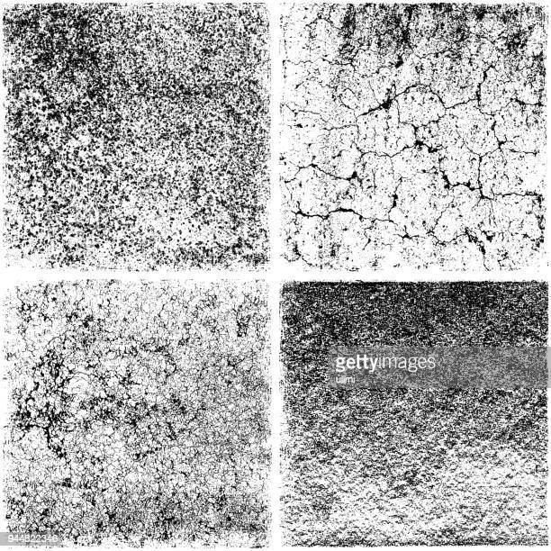 Set of grunge texture backgrounds. Variations of damaged stone wall