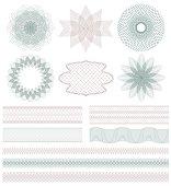 Set of Guilloche decorative elements. Vector illustration.