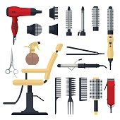 Set of hairdresser objects in flat style isolated on white