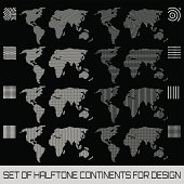 Set of halftone continents for design