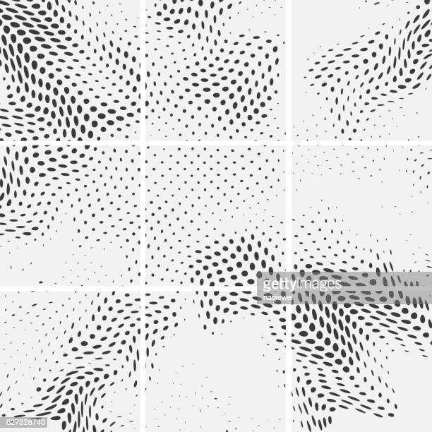 set of halftone dots wavy pattern background