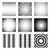 Set of halftone elements. Monochrome abstract patterns for DTP, prepress or generic concepts. Collection of retro backdrops.