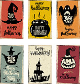 Set of halloween banner templates. Monster characters.