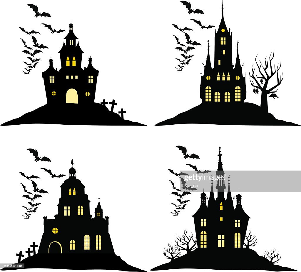 Set of halloween castle with bats black silhouette on  hill.