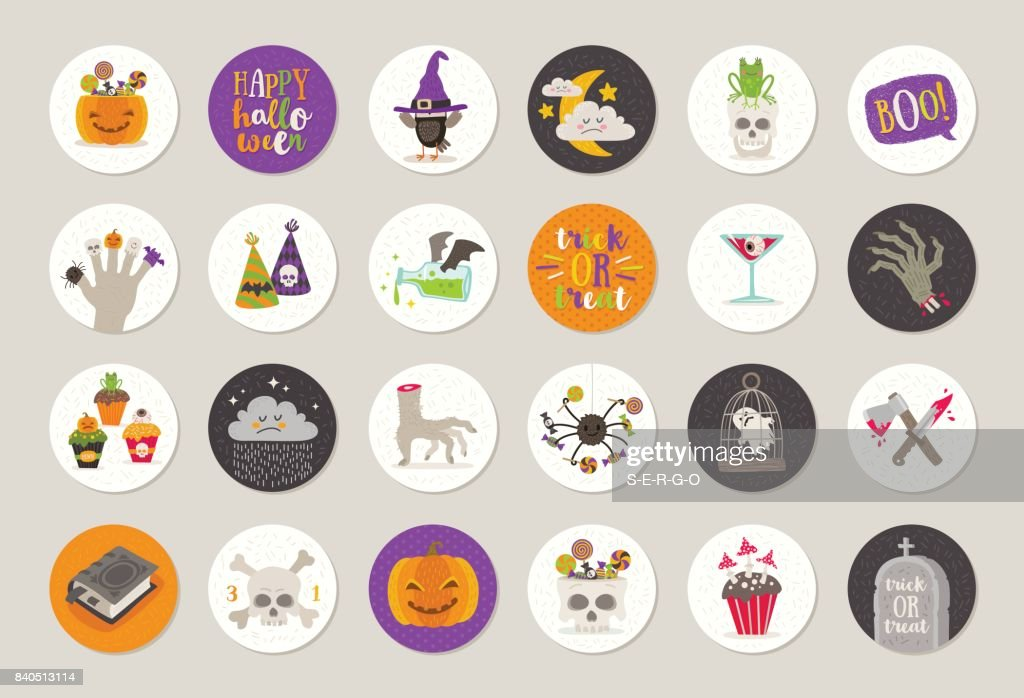 Set of Halloween gift tags and labels