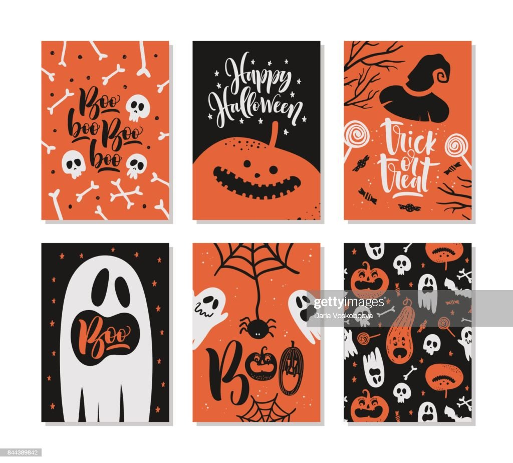 Set of Halloween greeting card with handwritten calligraphy quotes and words.
