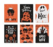 Set of Halloween hand drawn greeting card with calligraphy quotes, words and phrases.
