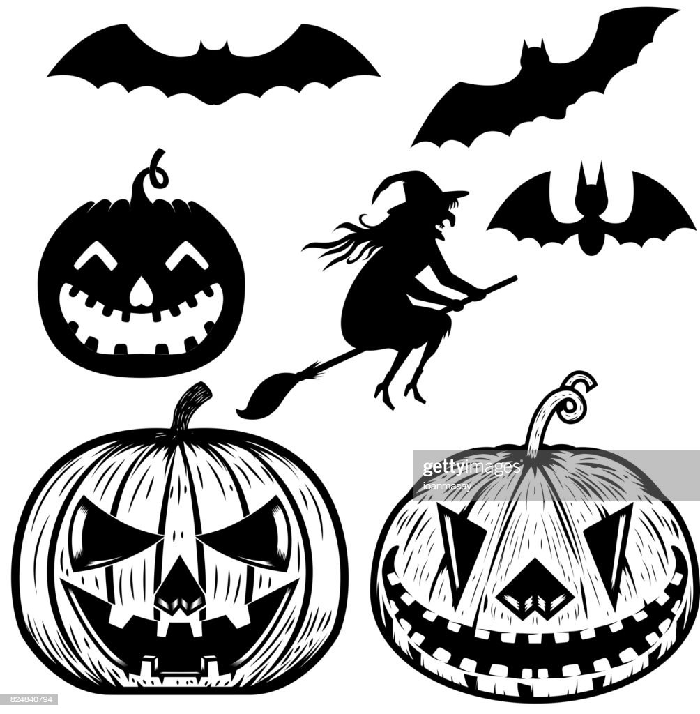 Set of halloween icons witch halloween pumpkin bats design elements set of halloween icons witch halloween pumpkin bats design elements for poster greeting cards vector illustration m4hsunfo