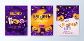 Set of Halloween party invitations, greeting cards, or posters with calligraphy, cutest pumpkins, bats and candy in night clouds.