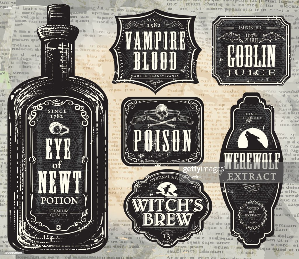 Set of  Hallowe'en printable black and white labels with bottle